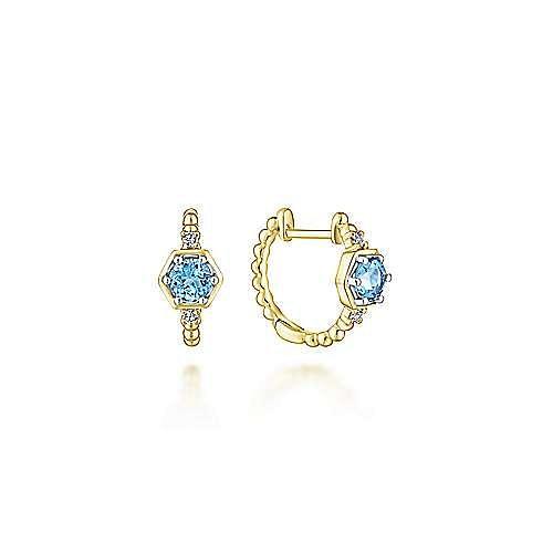 14k Yellow Gold Diamond & Swiss Blue Topaz Huggie Earrings