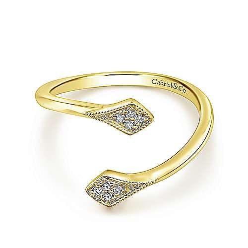Gabriel - 14k Yellow Gold Diamond Accented Open Wrap Ladies Midi Ring