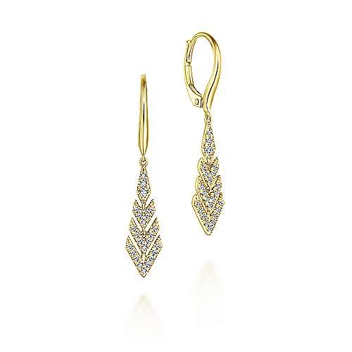 14k Yellow Gold Diamond Chevron Drop Earrings