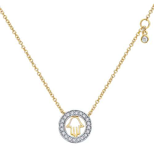 14k Yellow Gold Diamond Circle Cutout Hamsa Necklace