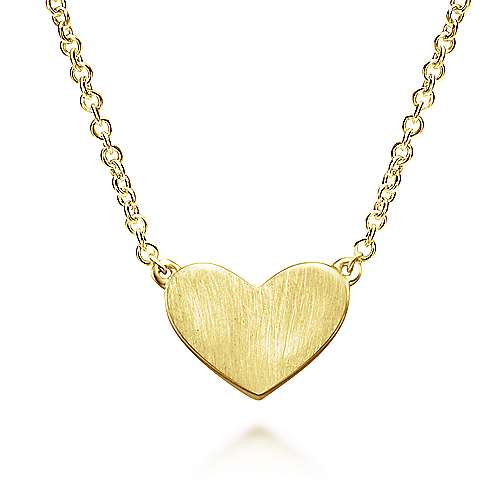 Gabriel - 14k Yellow Gold Diamond Engravable Heart Necklace