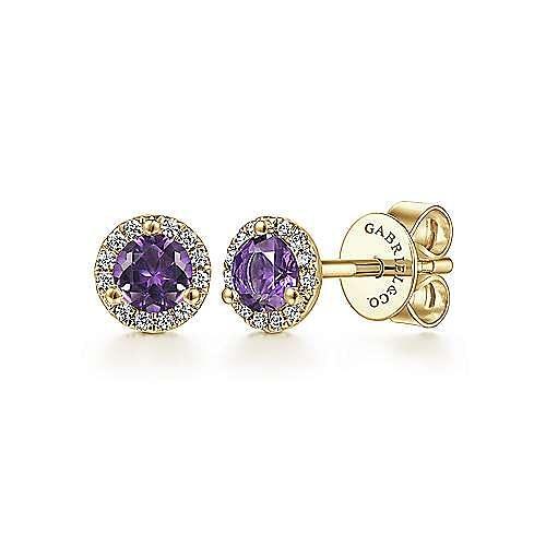 Gabriel - 14k Yellow Gold Diamond Halo Amethyst Stud Earrings