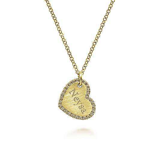 14k Yellow Gold Diamond Halo Engravable Heart Necklace