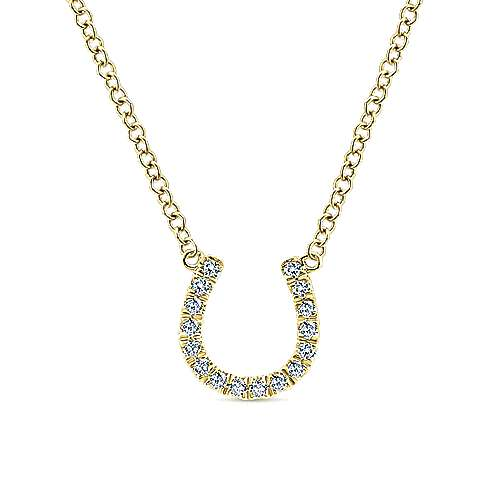 Gabriel - 14k Yellow Gold Diamond Horseshoe Pendant Fashion Necklace
