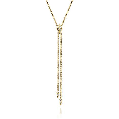 14k Yellow Gold Diamond Pyramid Y Knot Necklace