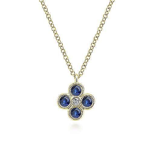 Gabriel - 14k Yellow Gold Diamond Sapphire Quartet Fashion Necklace