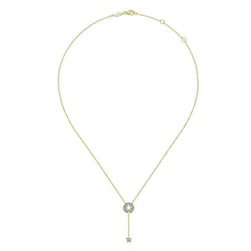 14k Yellow Gold Diamond Star Y Knot Necklace