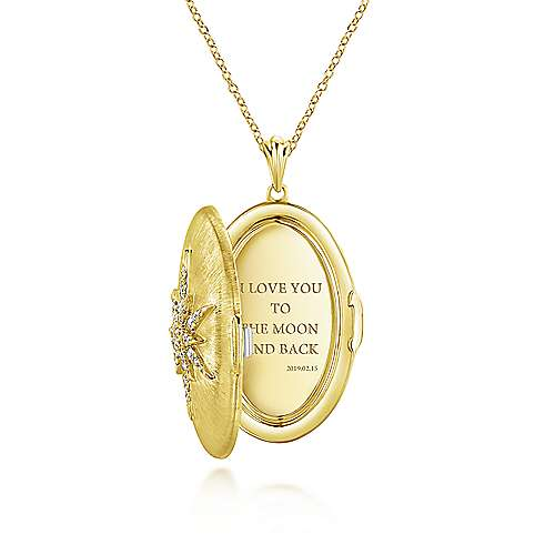 14k Yellow Gold Diamond Starburst Locket Necklace