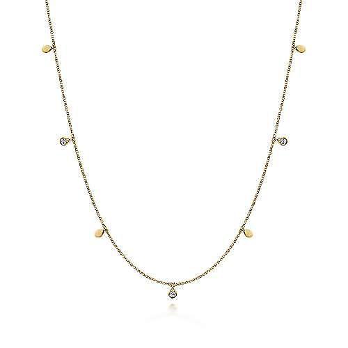 Gabriel - 14k Yellow Gold Diamond Station Necklace