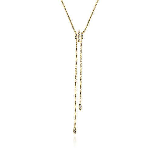 Gabriel - 14k Yellow Gold Diamond Y Knot Necklace