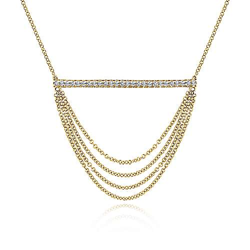 14k Yellow Gold Draped Chain Pave DIamond Bar Necklace