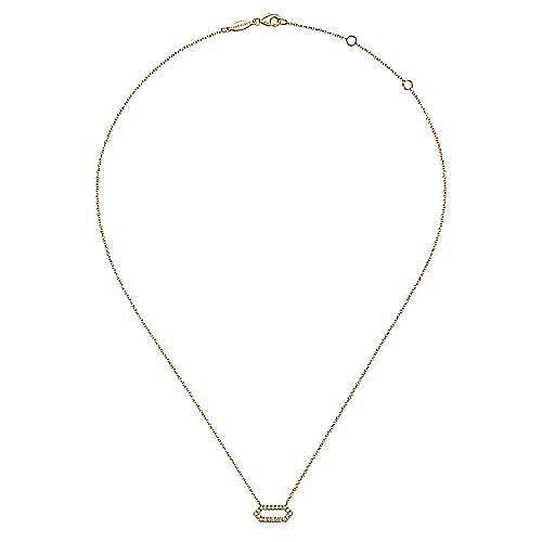 14k Yellow Gold Elongated Hexagonal Diamond Pendant Necklace
