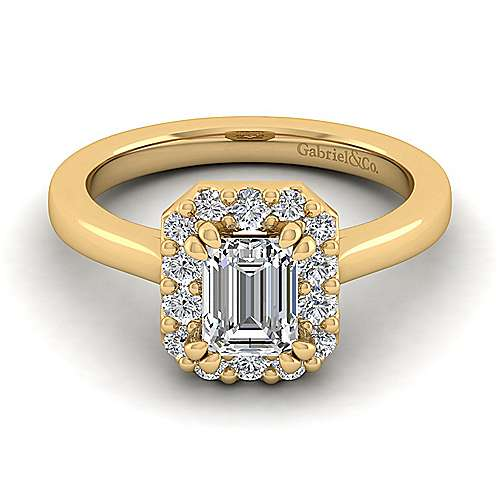 14k Yellow Gold Emerald Cut Halo Engagement Ring angle 1