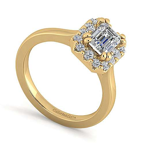 14k Yellow Gold Emerald Cut Halo Engagement Ring angle 3