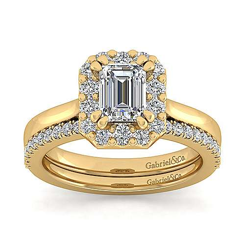 14k Yellow Gold Emerald Cut Halo Engagement Ring angle 4