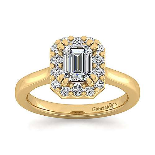 14k Yellow Gold Emerald Cut Halo Engagement Ring angle 5