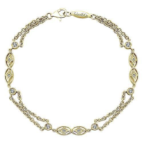 14k Yellow Gold Endless Diamonds Chain Bracelet angle 1