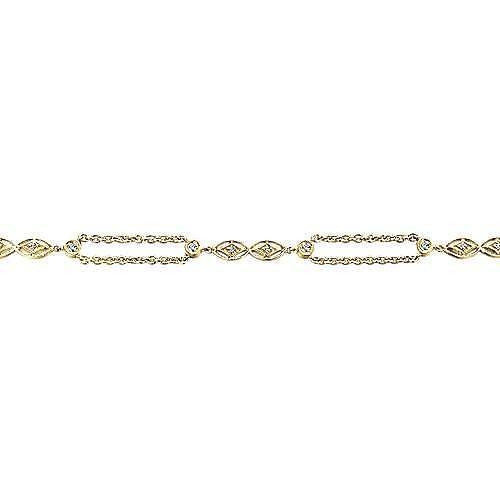 14k Yellow Gold Endless Diamonds Chain Bracelet angle 2
