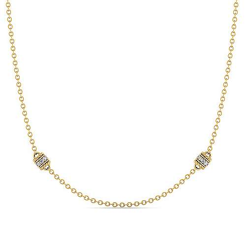 Gabriel - 14k Yellow Gold Endless Diamonds Station Necklace