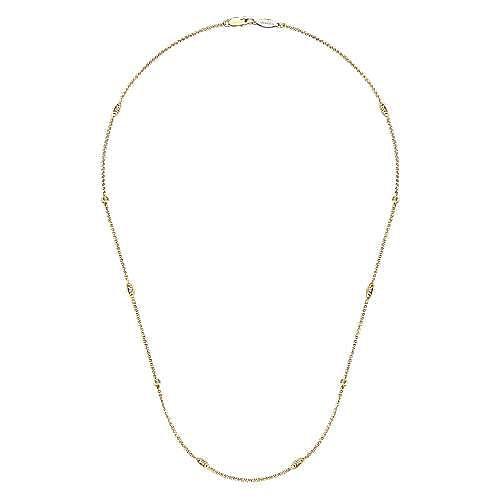 14k Yellow Gold Endless Diamonds Station Necklace angle 2