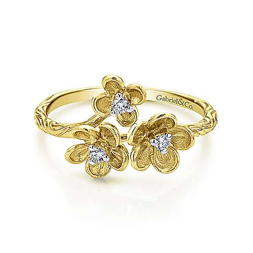 14k Yellow Gold Engraved Floral Diamond Fashion Ring