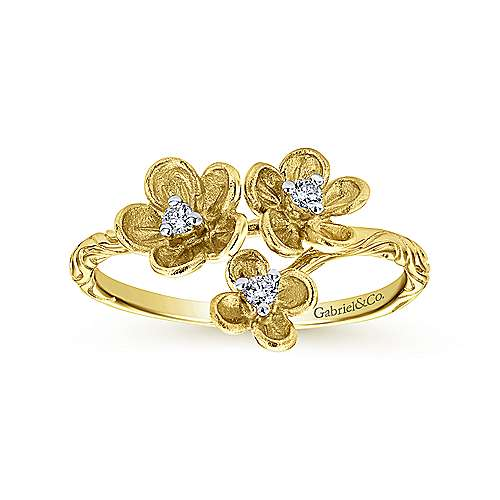 14k Yellow Gold Engraved Floral Diamond Fashion Ring
