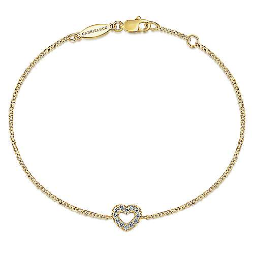 14k Yellow Gold Eternal Love Heart Bracelet angle 1