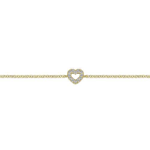14k Yellow Gold Eternal Love Heart Bracelet angle 2