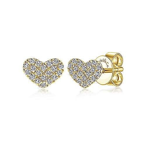 Gabriel - 14k Yellow Gold Eternal Love Stud Earrings