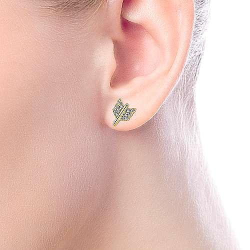 14k Yellow Gold Eternal Love Stud Earrings angle 2