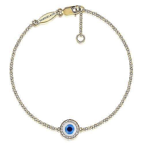 14k Yellow Gold Evil Eye Chain Bracelet angle 1