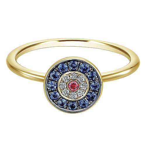 14k Yellow Gold Evil Eye Fashion Ladies' Ring angle 1