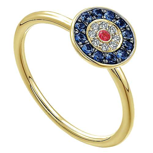 14k Yellow Gold Evil Eye Fashion Ladies' Ring angle 3