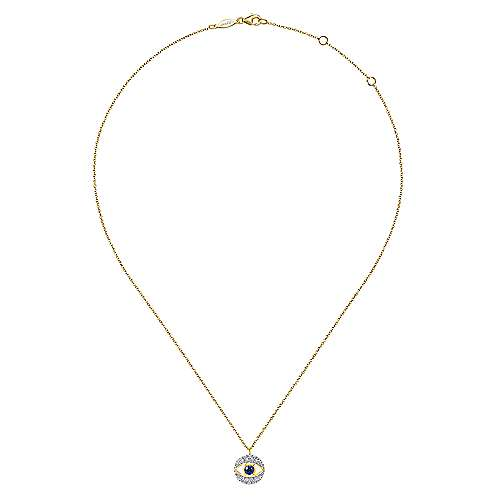 14k Yellow Gold Evil Eye Fashion Necklace angle 2