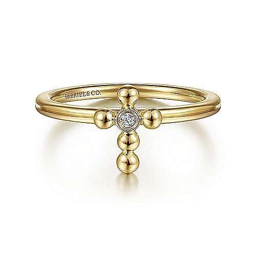 14k Yellow Gold Faith Cross Ladies Ring