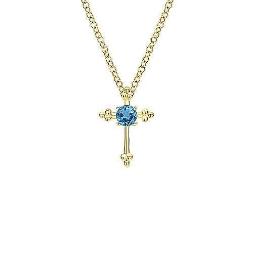 14k Yellow Gold Faith Cross Necklace angle 1