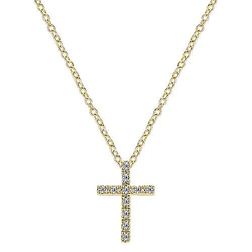 14k Yellow Gold Faith Cross Necklace angle 1