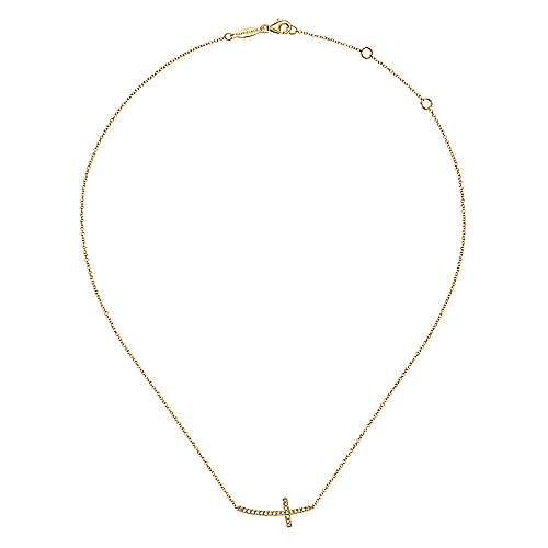 14k Yellow Gold Faith Cross Necklace angle 2
