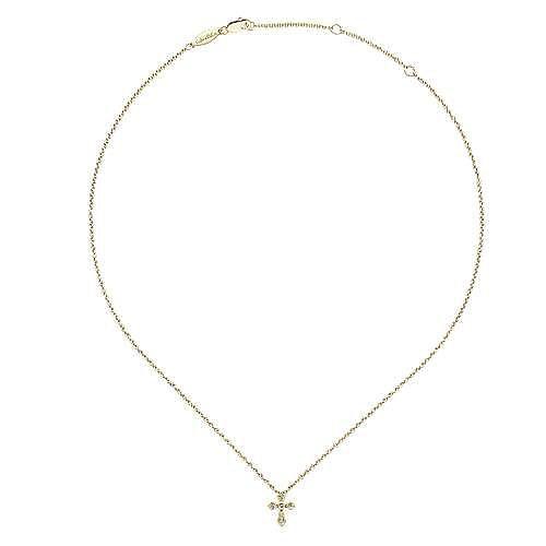 14k Yellow Gold Faith Cross Necklace angle 2