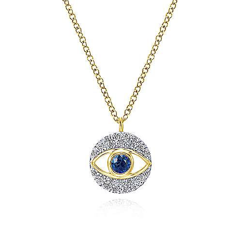 14k Yellow Gold Faith Evil Eye Necklace