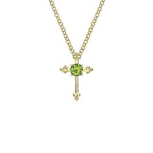 14k Yellow Gold Faith Fashion Necklace angle 1