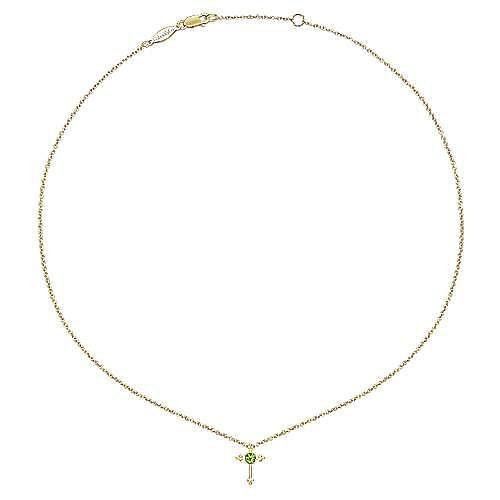 14k Yellow Gold Faith Fashion Necklace angle 2