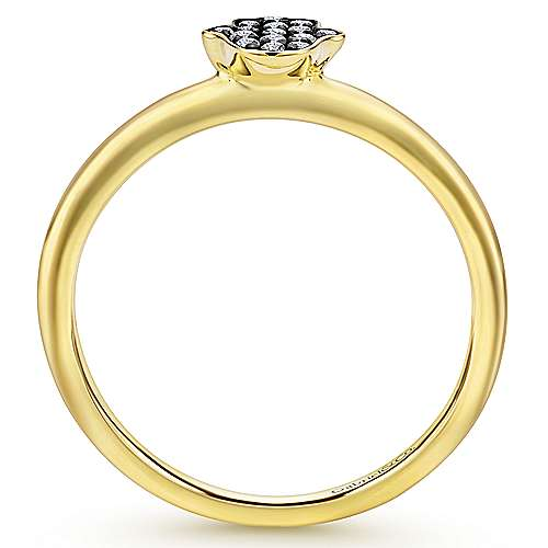14k Yellow Gold Faith Hamsah Ladies' Ring angle 2