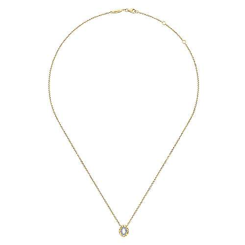 14k Yellow Gold Faith Hamsah Necklace angle 2