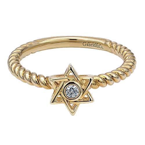 14k Yellow Gold Faith Star Of David Ladies' Ring angle 1