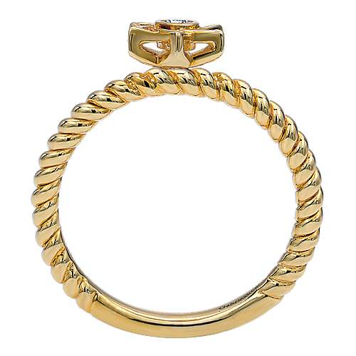 14k Yellow Gold Faith Star Of David Ladies' Ring angle 2