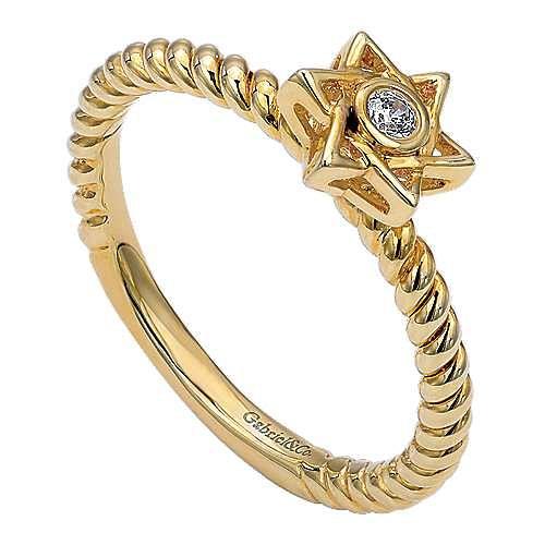 14k Yellow Gold Faith Star Of David Ladies' Ring angle 3