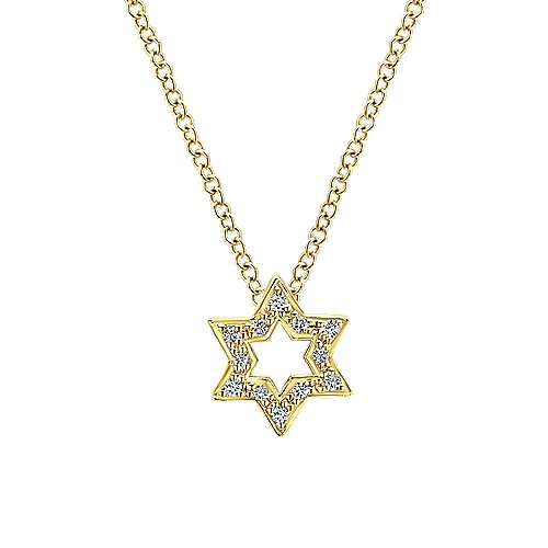 14k Yellow Gold Faith Star Of David Necklace angle 1