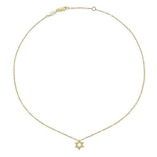 14k Yellow Gold Faith Star Of David Necklace angle 2