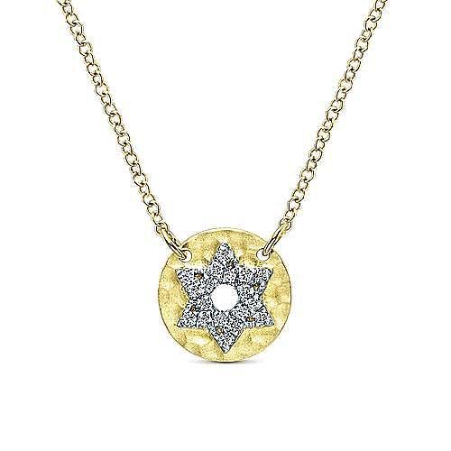 14k Yellow Gold Faith Star Of David Necklace angle 1